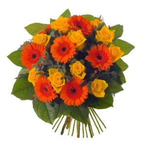 Μπουκέτο με κίτρινα τριαντάφυλλα και ζέρμπερες