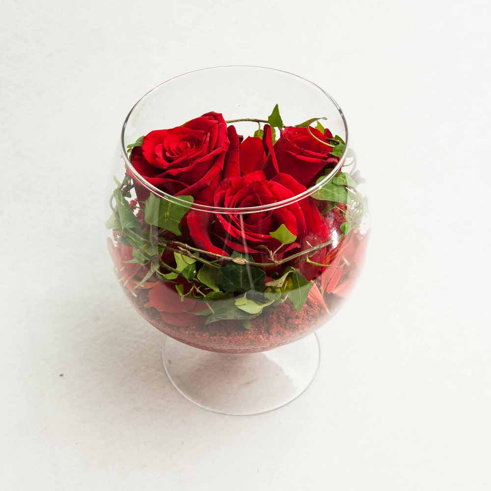 Red Roses In A Glass Vase The Flower Shop