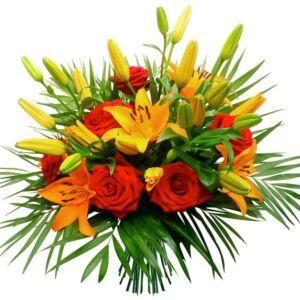 Μπουκέτο με λίλιουμ και τριαντάφυλλα