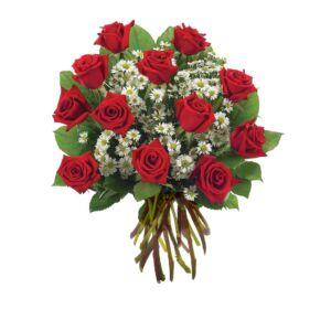 Μπουκέτο με κόκκινα τριαντάφυλλα και γυψοφύλλη