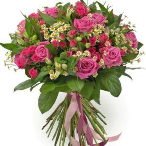 Μπουκέτο με ροζ τριαντάφυλλο και ροζ αστρομέρια