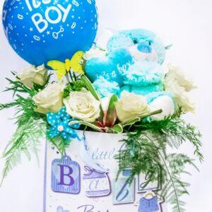 Σύνθεση για νεογέννητα αγόρια με αρκουδάκι και μπαλόνι