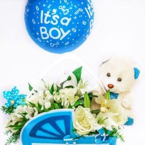 Σύνθεση για νεογέννητο αγοράκι με αρκουδάκι και μπαλόνι