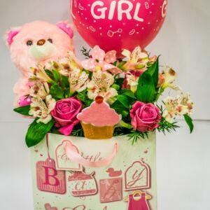 Σύνθεση για νεογέννητα κορίτσια με αρκουδάκι και μπαλόνι